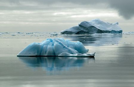 Two Antarctic icebergs
