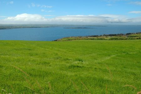 Green Irish grassland scenery with the blue water