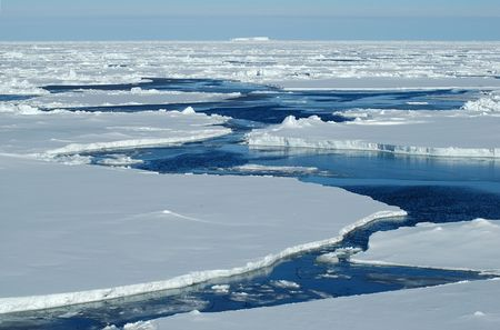 polar: Open water with Antarctic pack ice Stock Photo
