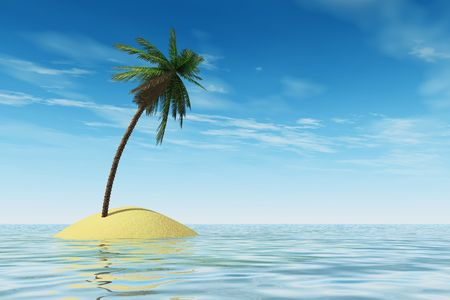 robinson: Tropical island with coconut palmtree