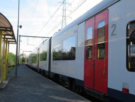 Train at Schelle train station near Antwerp, Belgium