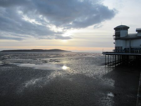 Sunset over the Bristol Channel, Somerset, UK