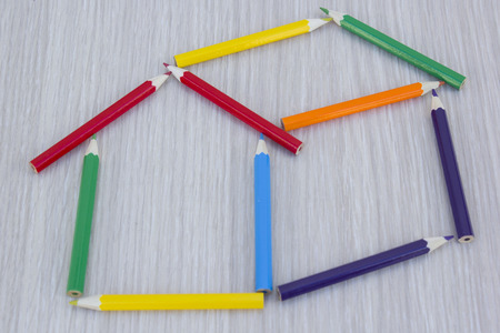 colored pencils: House made with colored pencils