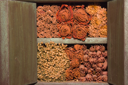 dried flowers: Dried flowers piled