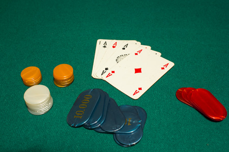 aces: 5 card draw poker, four aces