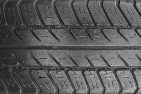 tread: A tire tread, closeup view