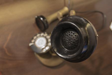 antique telephone: Antique telephone, rotary phone