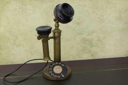 antique phone: Antique phone with control dial, old rotary telephone
