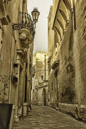 baroque architecture: Streets of the historic center of Lecce. Baroque architecture