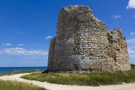 crumbling: Salento, Torre Chianca: coastal tower crumbling Stock Photo