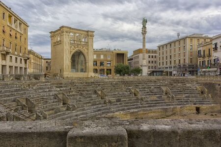 roman amphitheater: Saint Oronzo square of Lecce, the ruins of Roman amphitheater Stock Photo