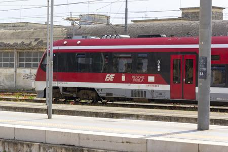 sud: LECCE, ITALY - MAY 2016: A local train (Ferrovie del Sud Est - FSE) stop in the railway station of Lecce Editorial