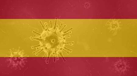 Coronavirus, flag of Spain. Epidemic covid-19 in Spain Stock Photo