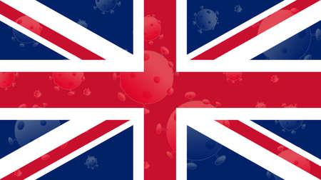 Coronavirus, flag of United Kingdom. Epidemic covid-19 in United Kingdom (UK)
