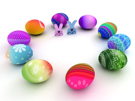 Easter bunnies and colorful eggs isolated on white background. 3D render. Copy space photo