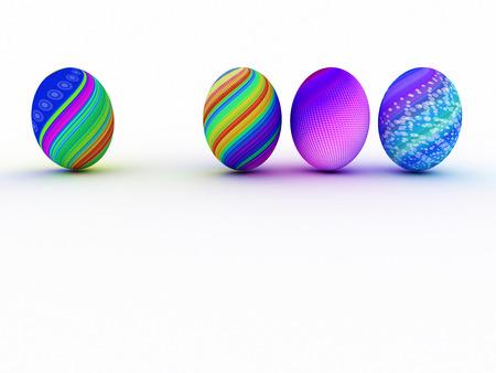 イースター カラフルな卵は、白い背景で隔離。3 D のレンダリング。コピー スペース