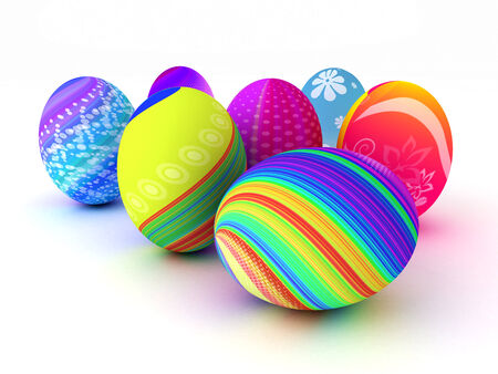 Easter colorful eggs isolated on white background. 3D render. Copy space photo
