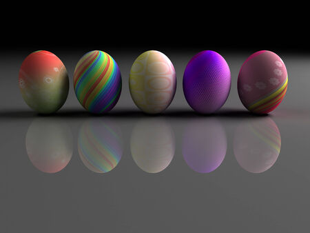 Easter colorful eggs on gray background. 3D render. Mirror reflection. Copy space photo