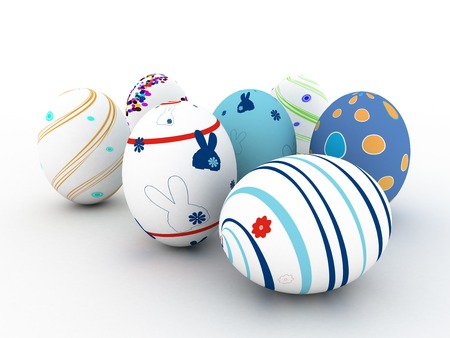 Easter colorful eggs on white background. 3D render. Copy space photo