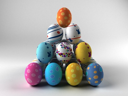 Easter colorful eggs on white background  3D render  Copy space Фото со стока - 27145825