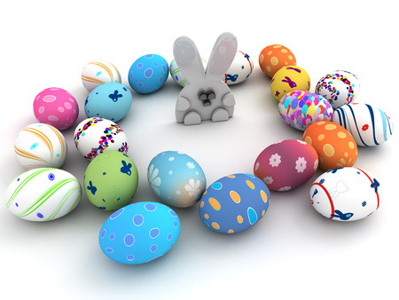 Easter bunny and colorful eggs isolated on white background  3D render  Copy space photo