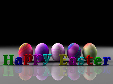 Colorful eggs on on black and white background  Happy Easter  3D render  Copy space photo