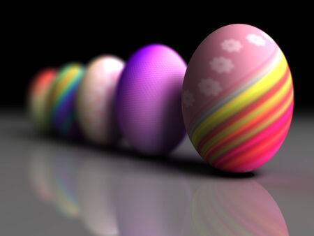 Easter colorful eggs on gray background  3D render  Copy space photo