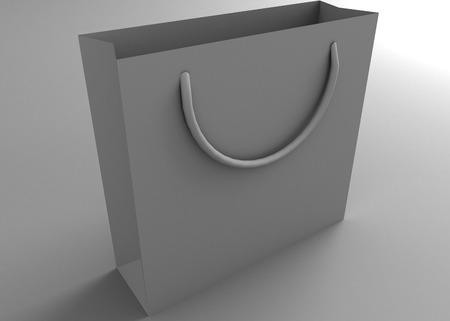 Empty bag on a gray background  3D render  Copy space photo