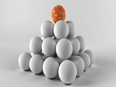 Easter colorful eggs on white background  3D render  Copy space photo