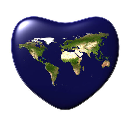 The Earth in the shape of heart isolated at white background  3D render  photo