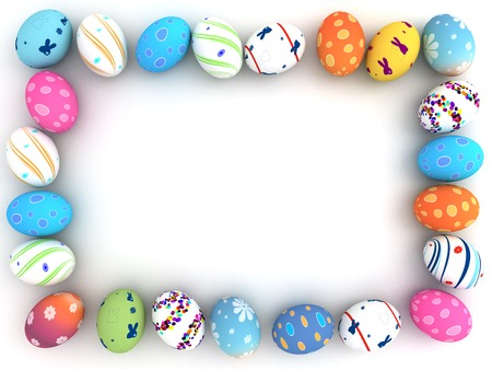 Easter colorful eggs isolated on white background  3D render  Copy space photo