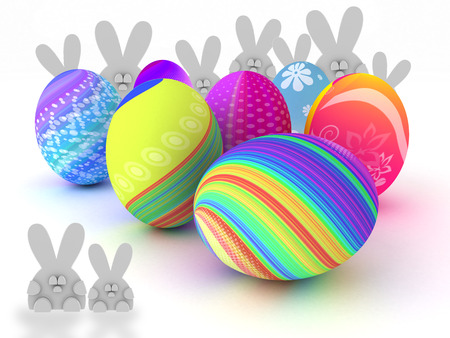 Easter bunnies and colorful eggs isolated on white background  3D render  Copy space photo