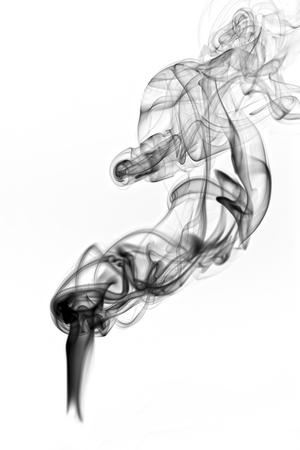 Dark smoke isolated on white background  photo