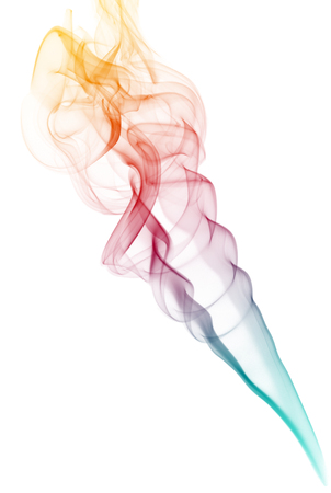 Coloured smoke isolated on white background. photo