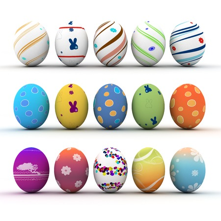 Easter colorful eggs isolated on white background photo