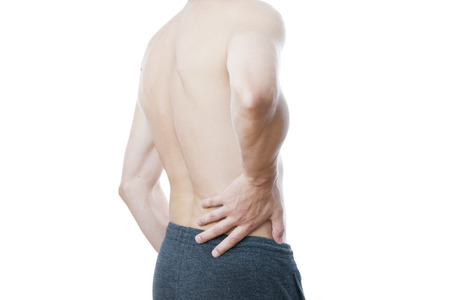 pyelonephritis: Pain in the lower back in men Stock Photo