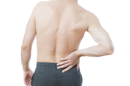 Pain in the lower back in men 写真素材