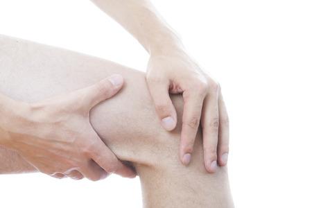 broken knee: Knee pain in men Stock Photo