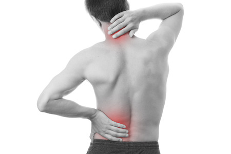 Back pain in men. Touching the neck. photo