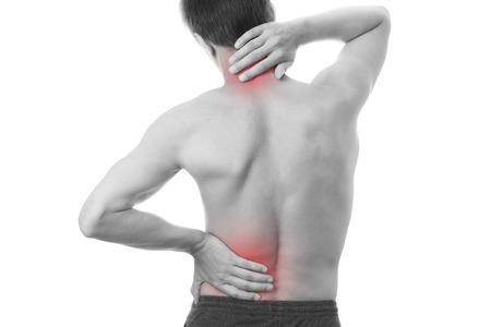 Rückenschmerzen bei Männern. Das Berühren der Hals. Standard-Bild