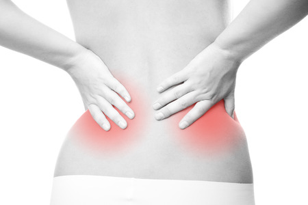 pyelonephritis: Pain in the lower back. Caring for the female body. Stock Photo