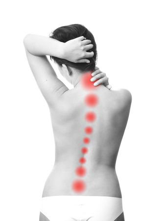 女性の後ろ側の痛みです。首に触れます。
