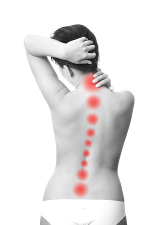 Pain in the back of women. Touching the neck. Stok Fotoğraf