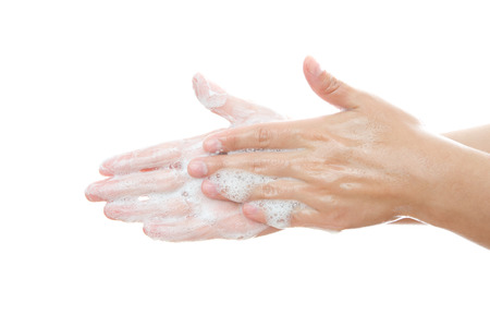 Lathered women's hands. Personal hygiene, cleansing the hands. Stock Photo - 27217652