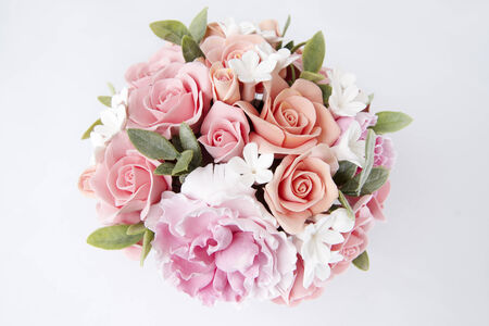 Colorful bouquet of flowers on a white background photo