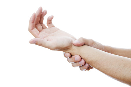 enhanced health: Pain in the joints of the hands  Care of male hands  Stock Photo