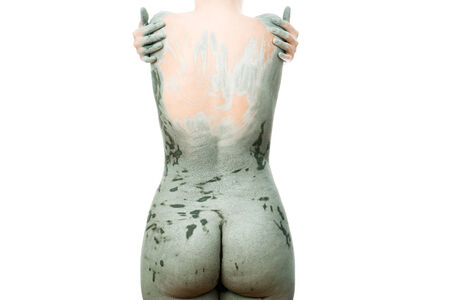 Mud treatment mask for body care. photo