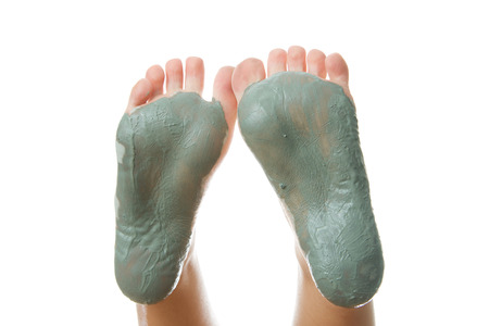발 관리. 다리 용 진흙 트리 트먼트 마스크.