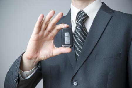 Businessman using car key. Keyless in male hand photo