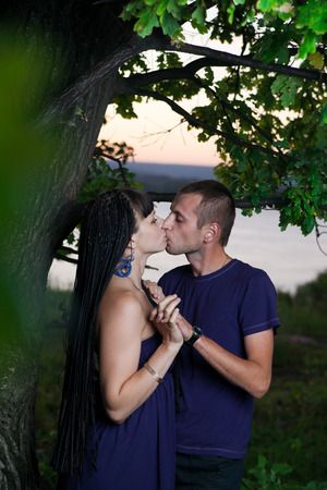 Young lovebirds in nature. photo